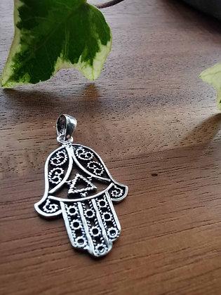 Hamsa Hand Silver Pendant