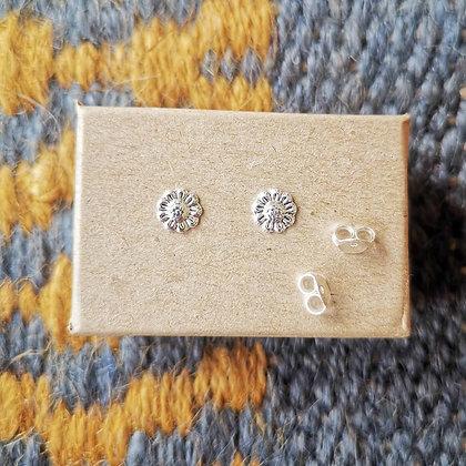 Silver Sunflower Ear Studs