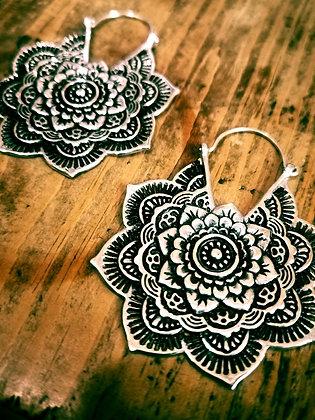Heavy Silver Mandala Earrings