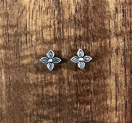 Four petal flower ear studs