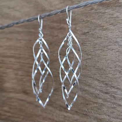 Long Three Piece Twist Dangle Earrings