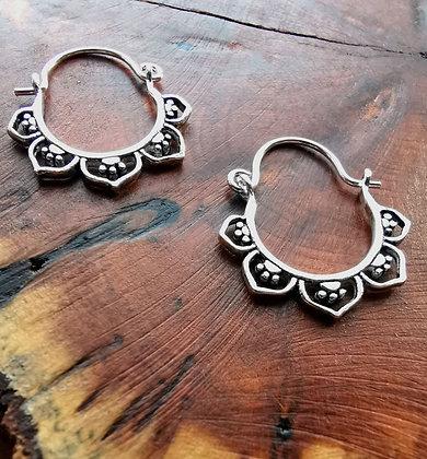 Small flower hoop earrings
