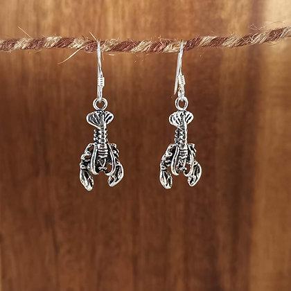 Silver Lobster Drop Earrings