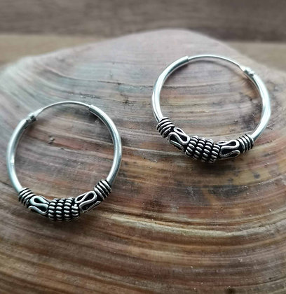 Detailed Pattern Silver Ear Hoops