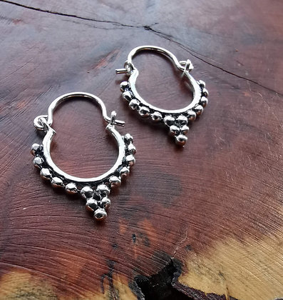 Silver ball droplet earrings