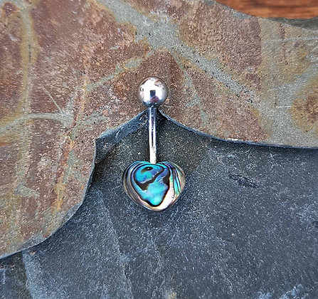 Heart Abalone Style Belly Bar