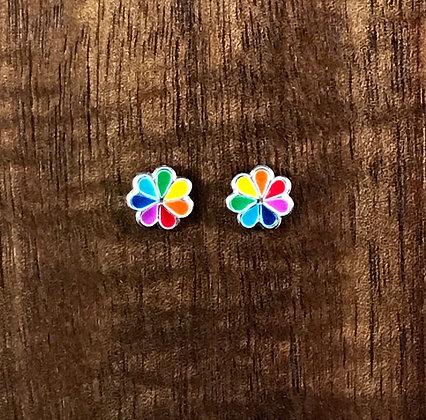 Multi coloured flower ear studs