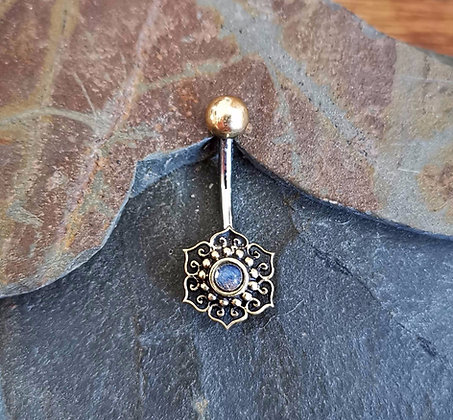 Brass Flower Belly Bar with Clear Gem