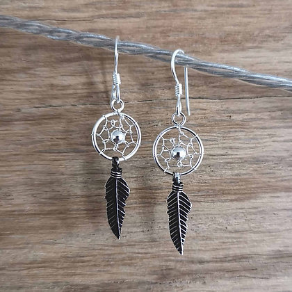 Silver Dreamcatcher Dangle Earrings