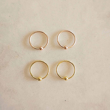 Pack of 4 Gold and Rose Gold Plated Nose Hoops