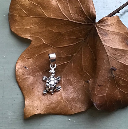 Small Silver Tortoise Pendant Charm