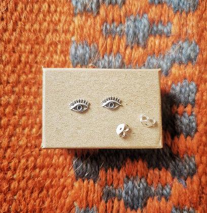 Silver Eye Ear Studs