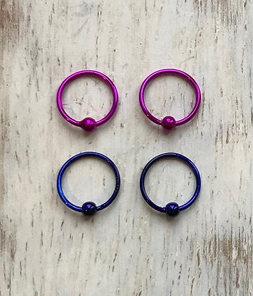 Purple and Dark Blue Nose Hoops (Pack of 4)