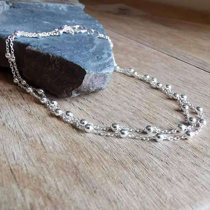 Double Dainty Silver Ball Anklet Chain