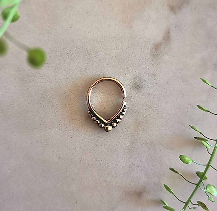 V Shape Dot Brass Hoop