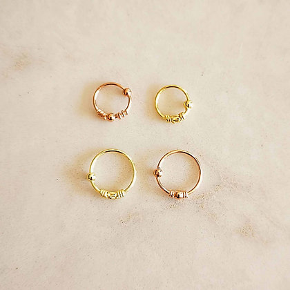 Pack of 4 Mixed Pattern Gold and Rose Gold Nose Hoops