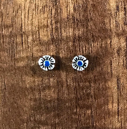 Silver flower with blue centre ear studs