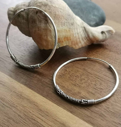 Large Sterling Silver Pattern Hoop Earrings