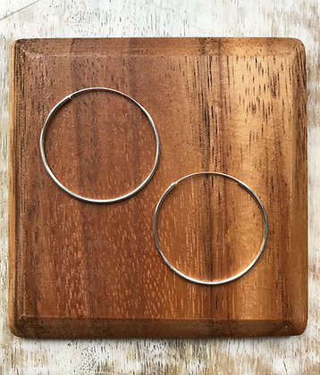 Plain Thin Medium Sterling Silver Ear Hoops (Various Sizes)