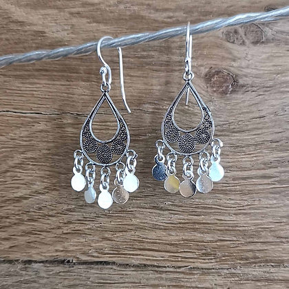 Filigree Teardrop Earrings With Charms