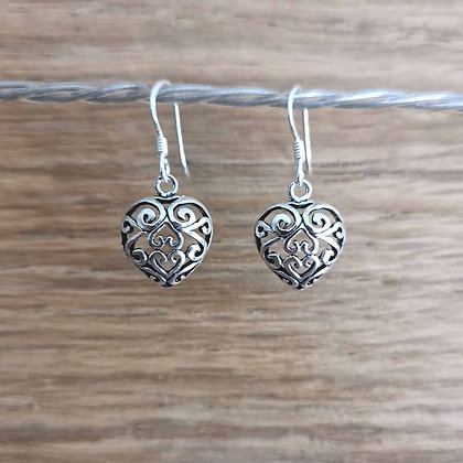 Ornate Heart Dangle Earrings