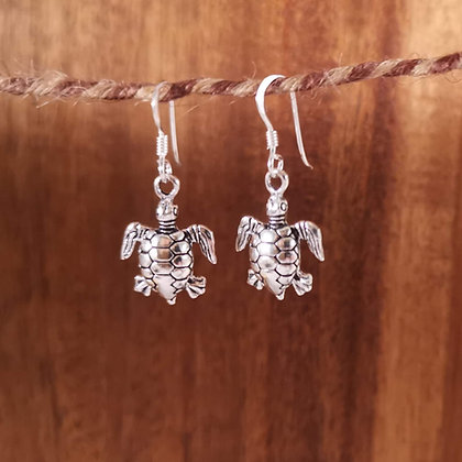 Silver Turtle Drop Earrings