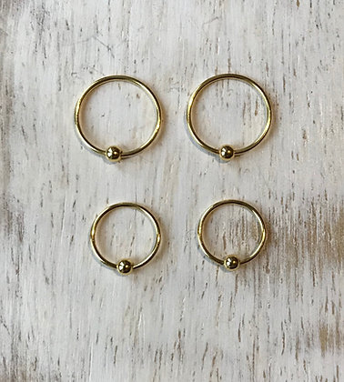 Gold Colour Nose Hoops (Pack of 4)