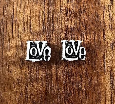 Silver love ear studs