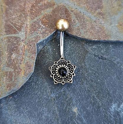 Brass Mandala Flower Belly Bar With Black Gem