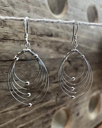 Five Looped Wire Drop Earrings