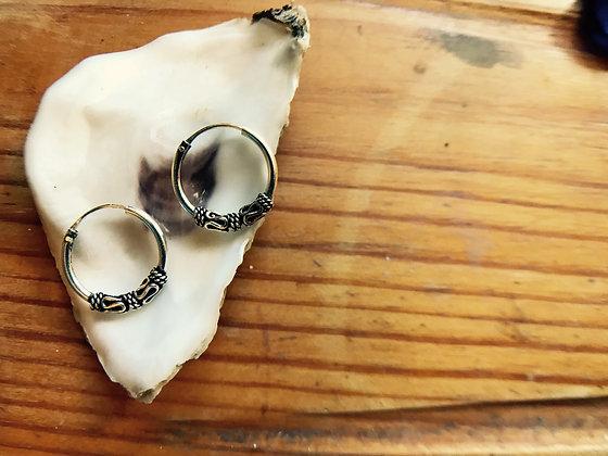 Sterling Silver Balinese Ear Hoops (16mm Diameter)