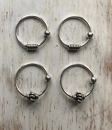 Pack of 4 Ornate Nose Hoops
