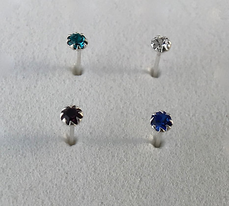 Mixed Rhinestone Gem Nose Studs (Pack of 4)