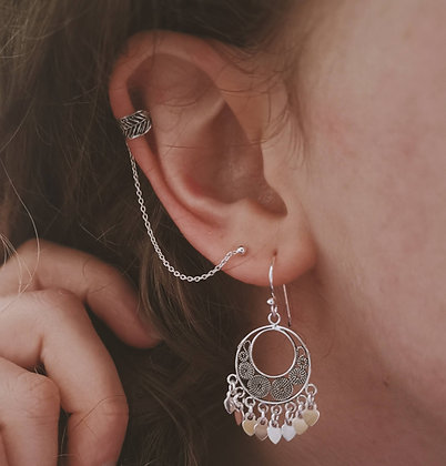 Round Filigree Earrings With Charms