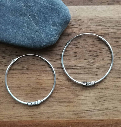 Simple Pattern Silver Ear Hoops