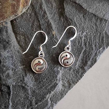 Silver Yin Yang Drop Earrings