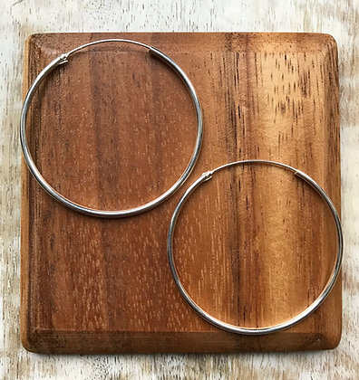 Large Thick Plain Silver Ear Hoops (Two Sizes available)