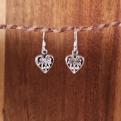 Pattern Heart Dangle Earrings