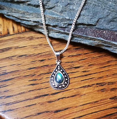 Necklace with Teardrop Faux Abalone Gem Pendant