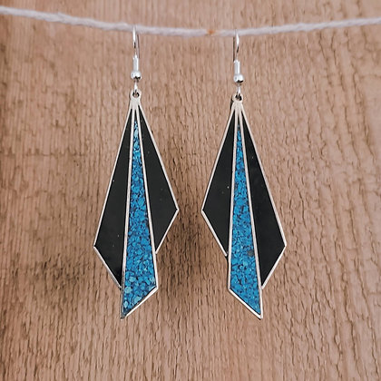 Blue and Black Fan Earrings