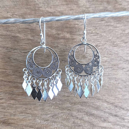 Round Filigree Earrings With Diamond Charm