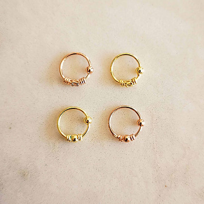 Pattern Gold and Rose Gold Nose Hoops