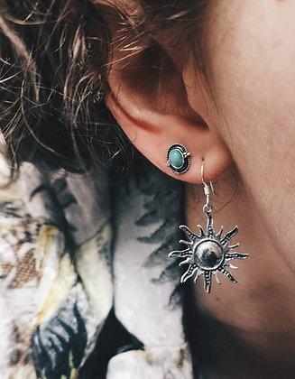 Silver sun drop earrings