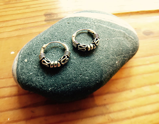 Small Thick Balinese Silver Hoops (13mm Diameter)
