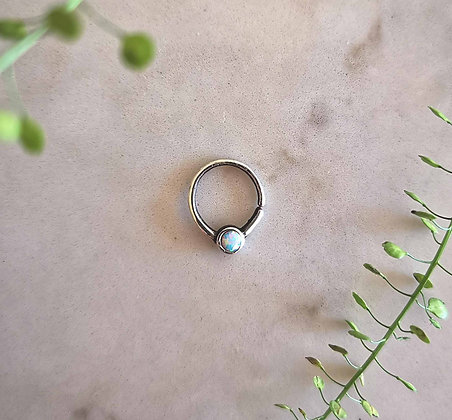 Silver Hoop with Iridescent Gem