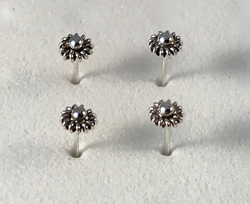 Flower Sterling Silver Nose Studs (Pack of 4)