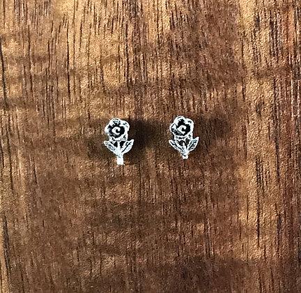 Silver stemmed rose ear studs