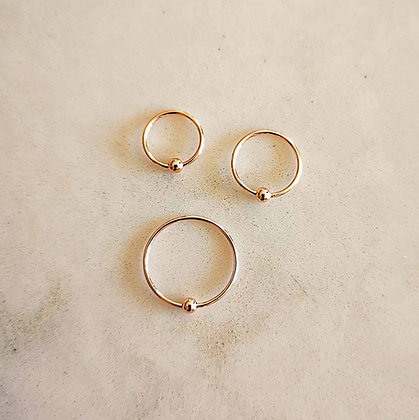 Pack of 3 Rose Gold Nose Hoops (Ball, Mixed Size)