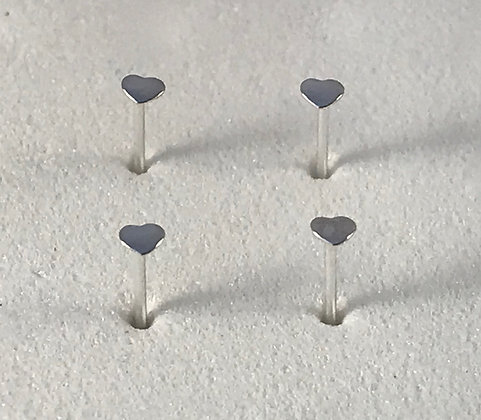 Heart Sterling Silver Nose Studs