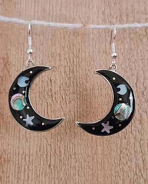 Galaxy Moon Earrings